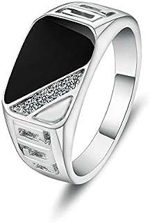 Black Enamel Men Finger Ring With CZ Diamond