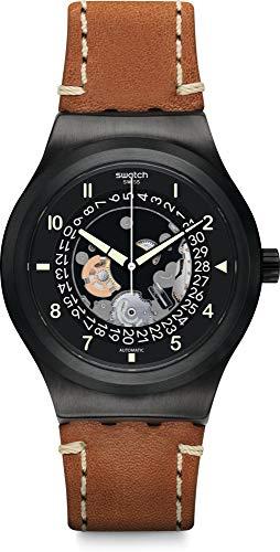 Swatch Reloj Analógico para Hombre de Automático con Correa en Cuero YIB402
