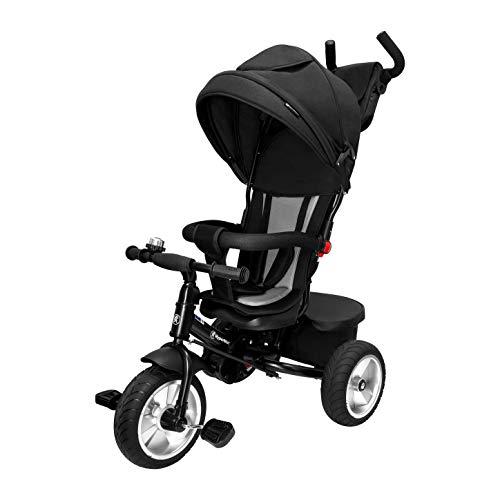 HyperMotion Dreirad für Kinder mit Steuergriff für Eltern, mit Sicherheitsgurten, erstes Fahrrad für Jungen und Mädchen, Tobi Spiner - aufpumpbare Räder, bequemem Sattel, Schwarz