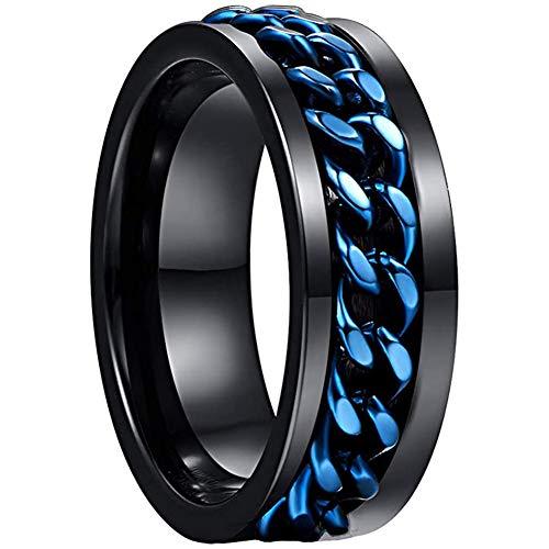 NUNCAD Schwarz Ringe für Herren Damen Wolfram Partner Ring mit Blau drehbare Ketten Inlay als Freundschaftsringe Hochzeitsring Verlobungsringe und Jahrestag Ringe Größe 57 (17)