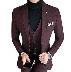 DUee Men Plus Size Formal Plaid Wedding Blazer Tux Vest & Trousers