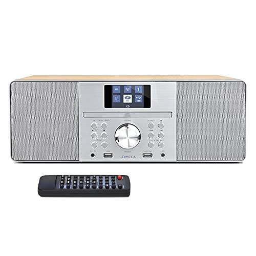 LEMEGA MSY1P 20 W Stereo-Lautsprecher mit DAB + & FM-Digitalradio, CD-Player, Bluetooth, USB, Aux, Uhr, Wecker und TFT-Display - Ahorn