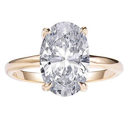 LEMON GRASS 3.5ct Oval Solitaire Engagement Ring Thin Band in Sterling Silver 925 14K Yellow Gold Plating Size 6