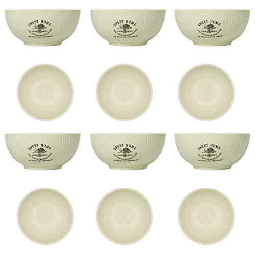 DRULINE 6er-Set Schalen Müslischalen Sweet Home 500 ml Ø14,5 cm Dessertschale Snackschale Eisschale Servierschalenset Schüsseln für Obst-Salat Müsli & Suppe Snack Keramik Creme Shabby Chic