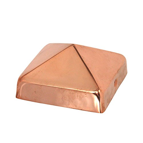 4x4 Copper Pyramid Post Cap by Captiva - Extended Lip - Solid Copper - Will Patina Naturally (3-1/2' x 3-1/2')