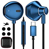 USB Type C Headphones for Samsung S20 FE, APETOO USB C Earphones with Mic Volume Control Nylon Braided Hi-Fi Stereo Earbuds for iPad Pro Galaxy Note 20 10 S21 Ultra Pixel 5 4 3 XL OnePlus 9 Pro 8 Blue