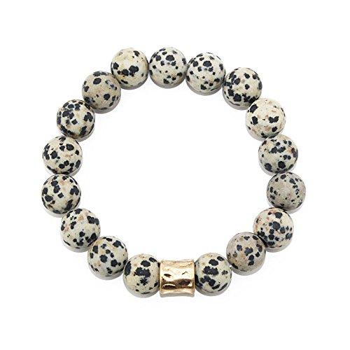 POMINA 10mm Semi Precious Stone Beaded with Gold Plated Bar Stretch Bracelets (Dalmatian Jasper)