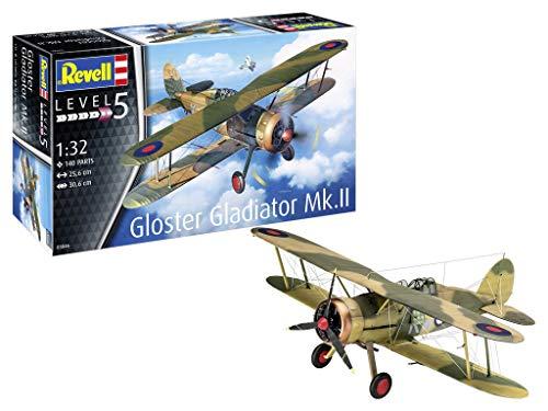 Revell 03846 Gloster Gladiator Mk. II, Flugzeugmodell 1:32, 26,2 cm originalgetreuer Modellbausatz für Experten, unlackiert