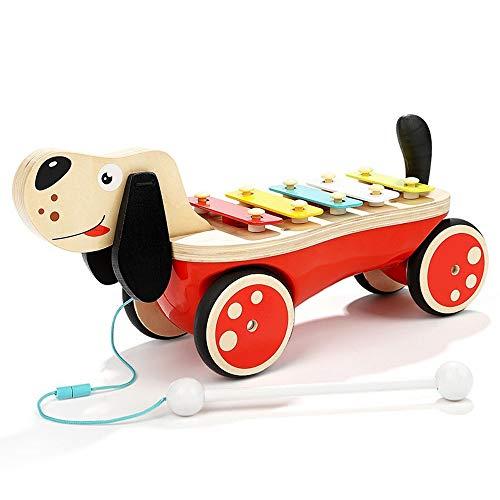 Markc Kinder Kleinkind Spielzeug Abschleppstange Holz Hand Schubstange Auto Junge Mädchen 1-3 Jahre alt Geschenk Puzzle Welpe Drag Sound und Licht Klopfen auf dem Klavier Früherziehung Aufklärung Mult