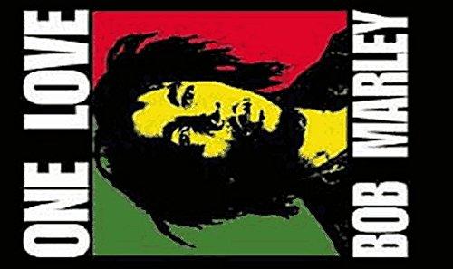 Drapeau Bob Marley One Love 150 x 90 cm - 100 % polyester - œillets en métal, double couture
