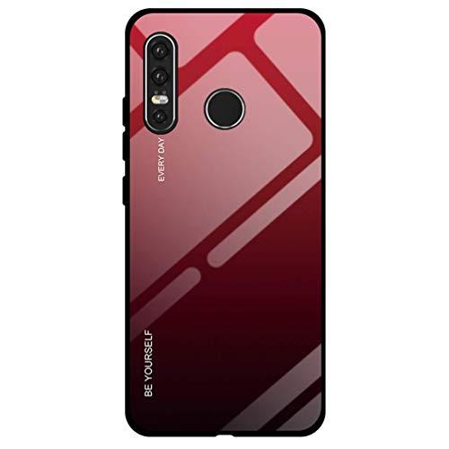 Dclbo Hülle für Huawei P30 Lite, Handyhülle Schutzhülle Hart Plastik Glas Spiegel Case Elegant Hülle Silikon Dünn Rahmen Schale Etui Cover Handytasche für Huawei P30 Lite-Rot Schwarz