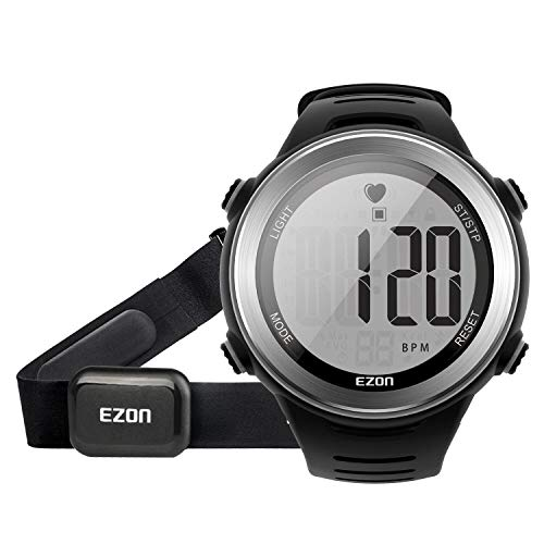 Running Digital Watch Heart Rate Monitor Chest Strap Waterproof with Chronograph Stopwatch Calorie Counter, Large Display for Men Black EZON T007A11