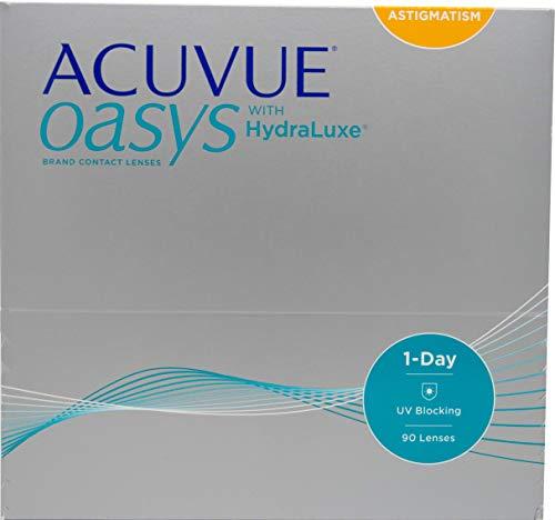 ACUVUE Kontaktlinsen Acuvue Oasys 1-Day for Astigmmatism Tageslinsen weich, 90 Stück/BC 8.5 mm/DIA 14.3 mm/CYL -0.75 / ACHSE 50 / -1.5 Dioptrien