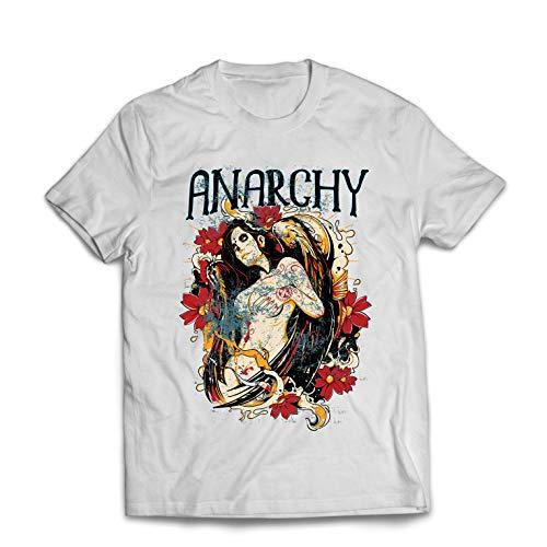 lepni.me Camisetas Hombre Cuerpo anarquista Tatuado - Día de los Muertos, cráneo (XXX-Large Blanco Multicolor)