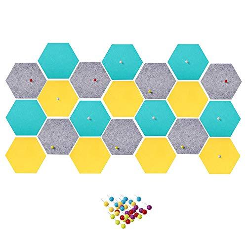Product Image of the 21Pcs Hexagon Felt Board Colorful Self-Adhesive Tiles Cork Felt Board Colored...