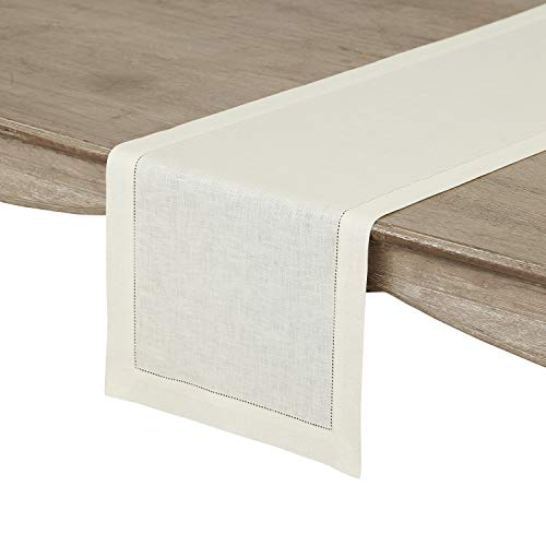 Solino Home 100% Pure Linen Hemstitch Table Runner - 14 x 108 Inch, Handcrafted from European Flax, Machine Washable Classic Hemstitch - Ivory