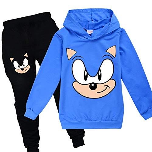 Sonic Hoodie und Hose Sportswear Jungen Trainingsanzug Mädchen Niedlich Cartoon Prints The Hedgehog Kostüm Pullover Gr. 134, blau2
