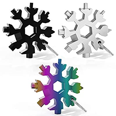 18-in-1 Snowflake Multi Tool, Stainless Steel Snowflake Bottle Opener/Flat Phillips Screwdriver Kit/Wrench, Outdoor Travel Camping Adventure Daily Tool, Great Christmas Gift (3PCS)