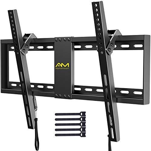 AM alphamount Tilting TV Wall Mount Bracket for 32-82 Inch LED LCD OLED Flat Screen/Curved TVs-Low Profile TV Wall Mount Holds up to 132 lbs-Easy Install with All Hardware Included, Max VESA 600x400mm