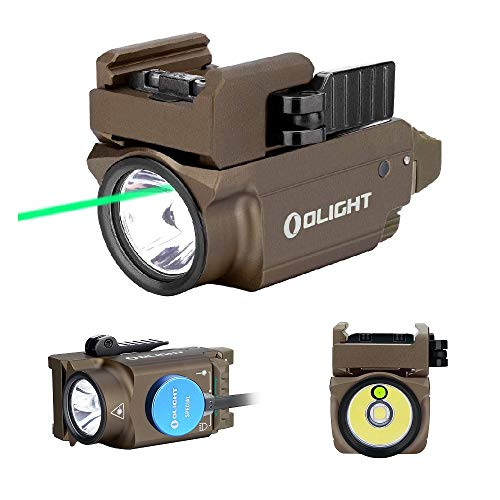 OLIGHT Baldr Mini 600 Lumen Pistol Light and Green Laser Combo (Class IIIA <5mw Safe Laser Output, PL-Mini 2 Combo) Tactical LED Flashlight Magnetic Rechargeable with Built-in Battery (Desert Tan)