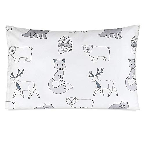 TILLYOU Ergonomic Toddler Bed Crib Pillow with Pillowcase, 100% Soft Cotton Baby Pillow for Sleeping in Daycare Preschool, Kids Portable Travel Pillow for Neck Head and Spine, 13X18 Woodland Animals