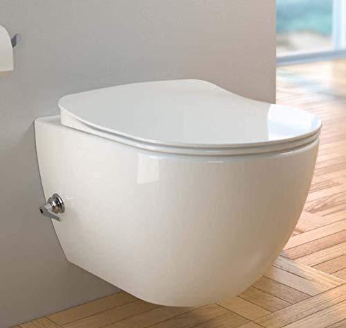 CREAVIT Spülrandlos integrierte Kaltwasser Armatur Hänge Dusch WC Taharet Bidet Taharat Intimdusche inkl. Duroplast Soft-Close Deckel FE322
