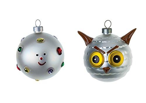Alessi Fioccodineve e Uffoguffo AMJ14SET6 Set Palline di Design per Albero di Natale in Vetro Soffiato, Decorato a Mano
