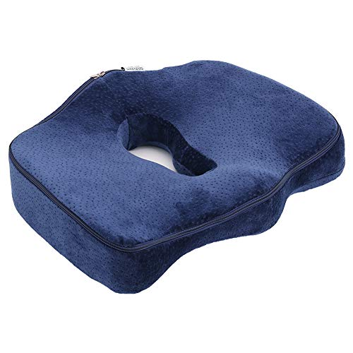 Sedhoom 第7世代座布団 健康クッション 低反発 人間工学 体圧分散 オフィス 椅子 車用 自宅用 カバー洗える 青 004527