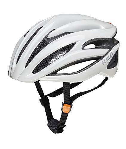 KED Wayron M White - 55-59 cm - inkl. RennMaxe Sicherheitsband - Fahrradhelm Skaterhelm MTB BMX Erwachsene Jugendliche