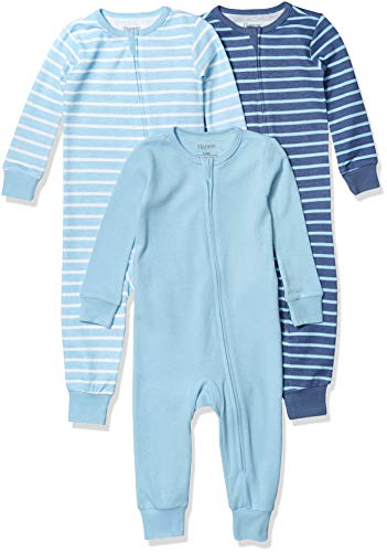 Hanes Ultimate Baby Zippin 3 Pack Sleep and Play Suits, Blue Stripe