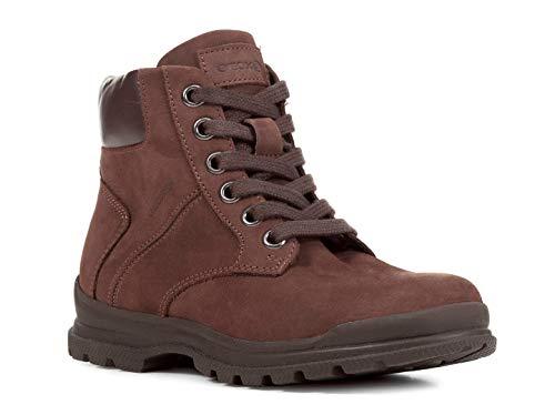 Geox J845HB Navado Modischer Jungen Leder Stiefel, Schnürstiefel, leichtes Fleece Futter, atmungsaktiv braun (DK Brown), EU 34