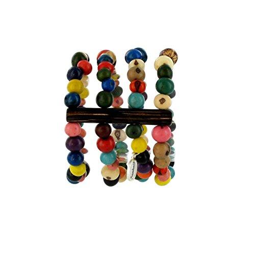 Sambaia Armband aus Acai Samen, vierreihig, in vielen Farben erhältlich, original, bunt