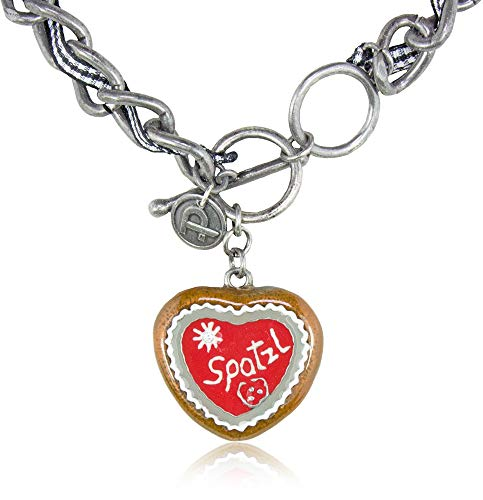 A-ZONE Trachten Halskette mit Herz Spatzl - Schöne Kette zu Dirndl und Lederhose
