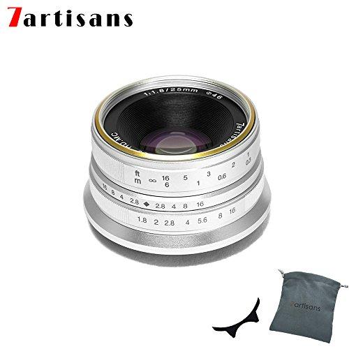 7artans F1.8 - Lente de Enfoque Manual (25 mm, para cámaras Canon M, como M1, M2, M3, M5, M6, M10), Color Plateado