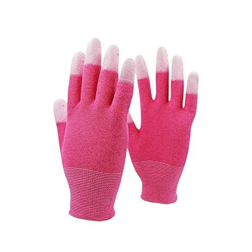 Kohlenstofffaser-Touch Screen Motorrad-Reinraum-Sicherheits-Arbeitshandschuhe, 10 Paare Handschuhe, Grillhandschuhe, Arbeitshandschuhe, (Color : Pink 24 Pairs, Size : XL)