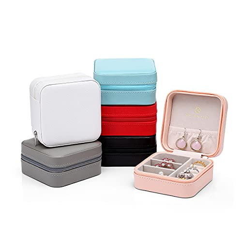 Vlando Small Faux Leather Travel Jewelry Box Organizer Display Storage Case for Rings Earrings Necklace, Set of 6 in Multi-Color