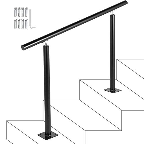 Happybuy Stair Railing Kit 3 Steps Aluminum Black Handrail Flexible Outdoor Deck Hand Rail