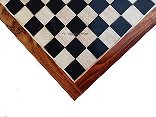 Generic Tablero de ajedrez de madera de ébano de 21 '| Cuadrado de madera de ébano macizo con tablero de borde de palisandro dorado | Tablero de ajedrez de lujo para torneos | Tamaño cuadrado de 55 mm
