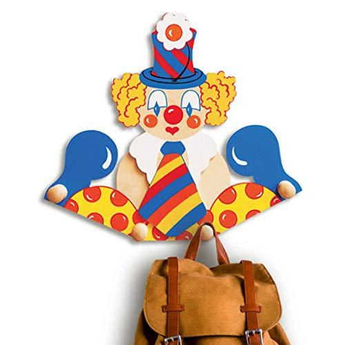 Dida - Porte-Manteaux Enfant – Clown avec Cravate - Porte Manteau Mural en Bois pour Chambres d'enfant et bébé