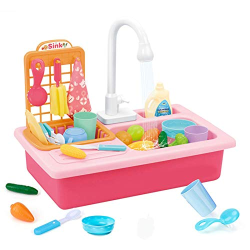 Play Kitchen Sink Toy With Running Water Pretend Role Play Automatic Water Cycle System Realistic Light And Sound Dish Rack And Tableware Food Accessories Dish Sink Toy For Toddlers Kids(Pink)