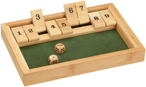 Philos 3270 - Shut The Box 9er, Bambus, Green Games, Würfelspiel, Klappenspiel