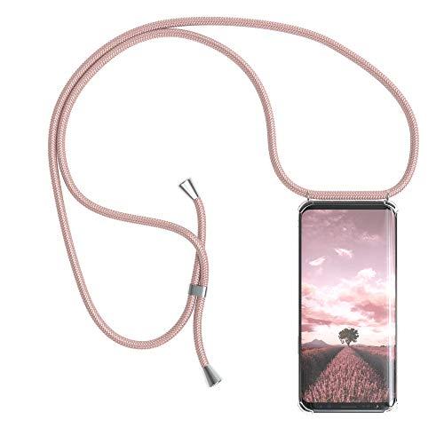 EAZY CASE Handykette kompatibel mit Samsung Galaxy S9 Handyhülle mit Umhängeband, Handykordel mit Schutzhülle, Silikonhülle, Hülle mit Band, Stylische Kette mit Hülle für Smartphone, Rosé-Gold
