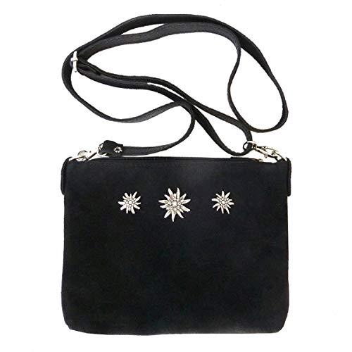Kleine Trachtentasche Dirndltasche Umhängetasche Clutch Wild-Leder schwarz