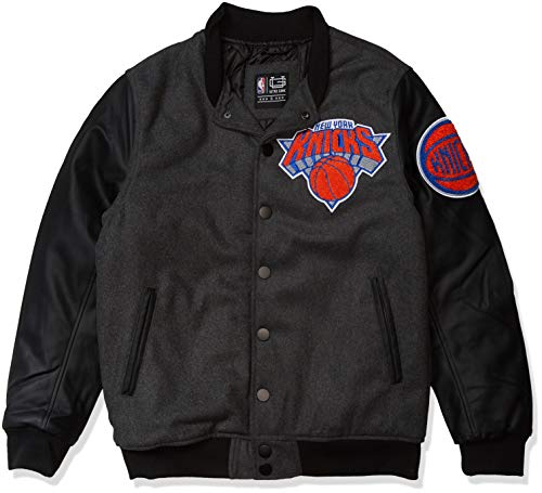 Ultra Game NBA New York Knicks Mens Full Zip Classic Varsity Jacket, Charcoal Heather, Large