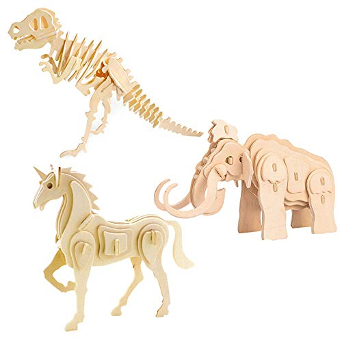 Georgie Porgy 3D Wooden Puzzle Prehistoric Animal Model Collection, T-Rex Unicorn Mammoth Dinosaur Woodcraft Construction kit Kids Jigsaw Toy age 5+ (Pack of 3,JP203+JP257+JP275)