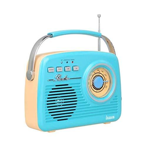Lauson Ra142 Radio Vintage Azul Crema Analógica con Altavoz Integrado 2w Am/FM Batería Recargable Bluetooth USB SD