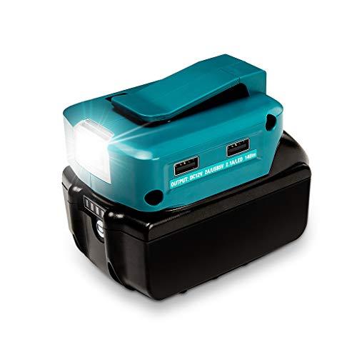 Xzbnwuviei - Cargador USB con luz, 14,4 V/18 V Li-on batería dual puerto USB con foco LED linterna exterior para baterías Makita