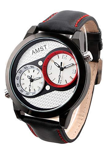 AMST Fashion Watch Herren Edelstahl Uhr Doppeldisplay Top Sport Armbanduhr Lederband Quarzuhr schwarz/weiß