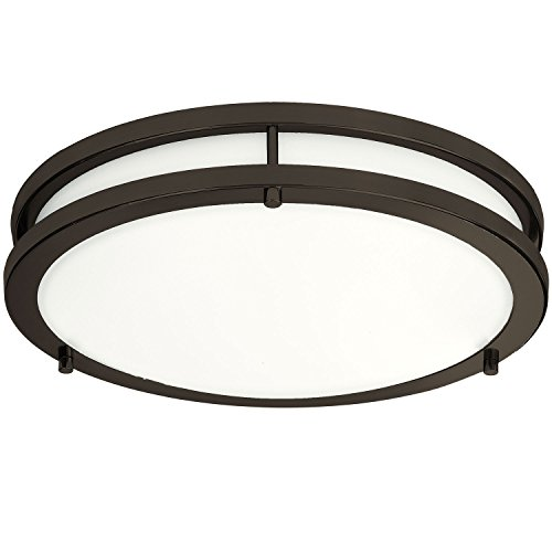 LB72121 LED Flush Mount Ceiling Light, 12 inch, 15W (150W Equivalent) Dimmable 1200lm, 4000K Cool White, Oil Rubbed Bronze Round Lighting Fixture for Kitchen, Hallway, Bathroom, Stairwell