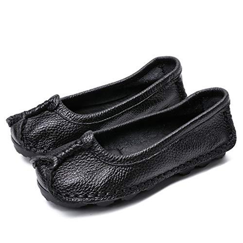 Vrouwen Handgemaakte Zachte Mocassins Ronde Neus Ondiepe Mond Loafers Platform Comfortabele Casual Flats Retro Slip Bootschoenen
